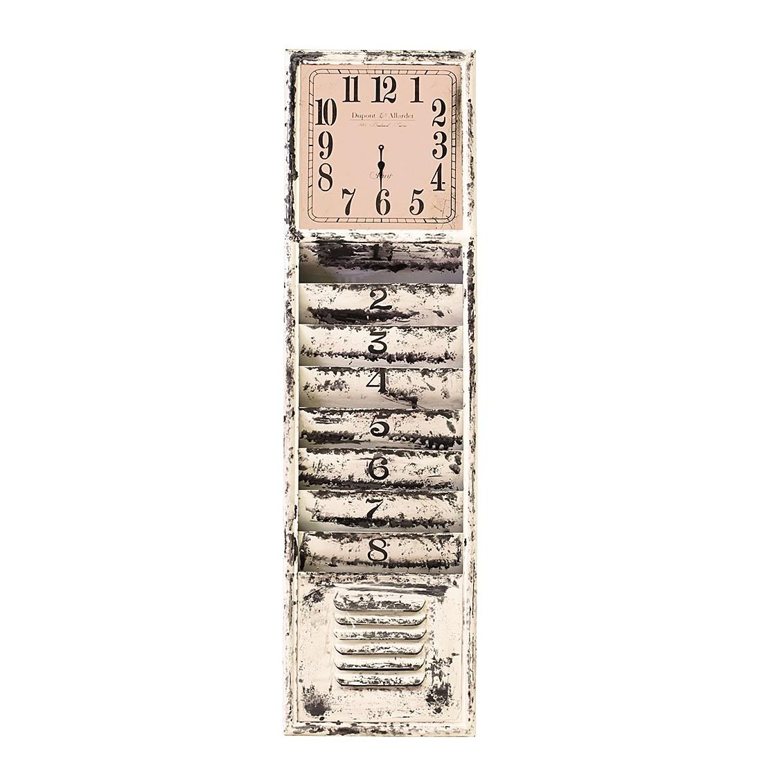 Zeitungshalter Vanha (mit Uhr) - Metall - Weiß, furnlab