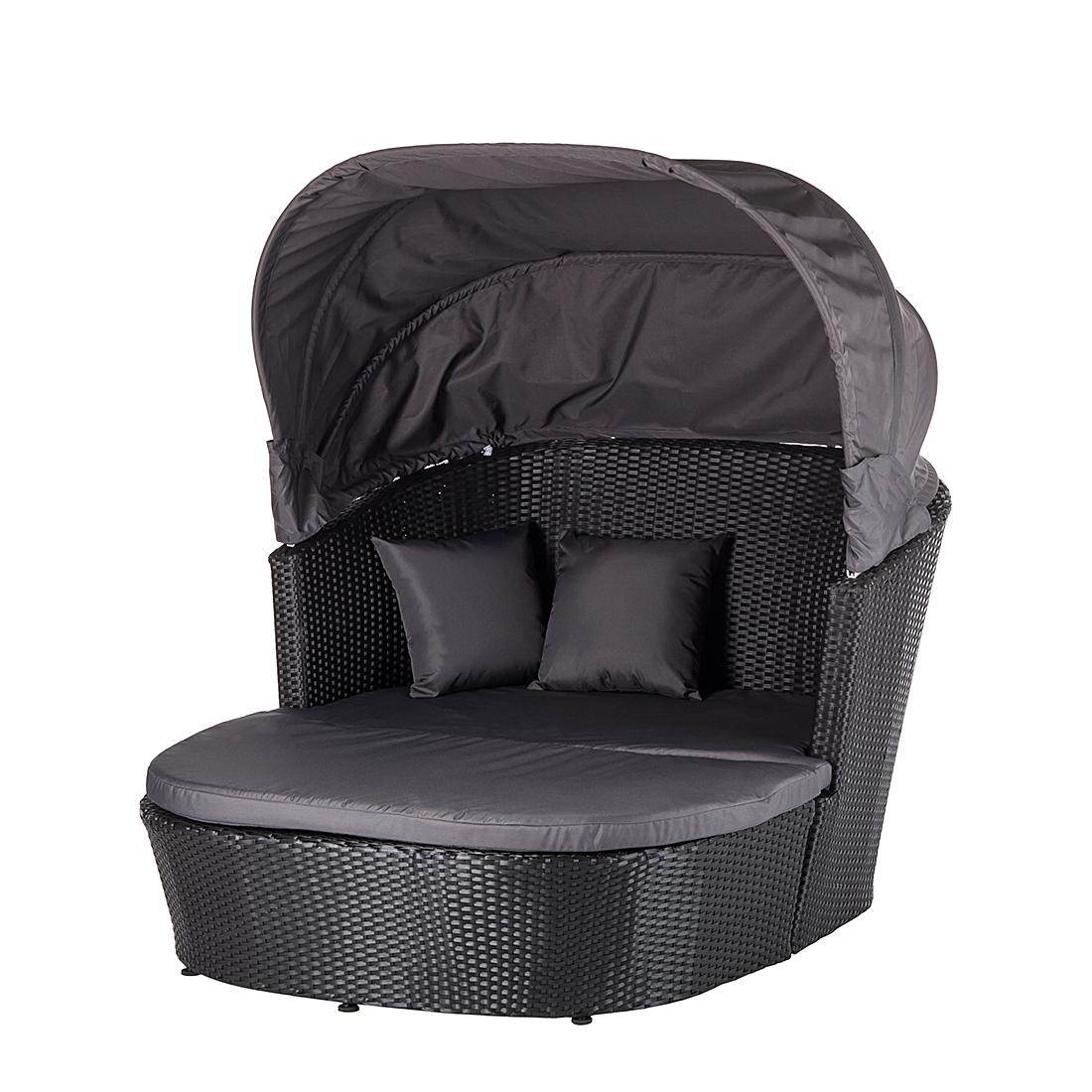 sonneninsel ellos aus polyrattan in schwarz grau. Black Bedroom Furniture Sets. Home Design Ideas
