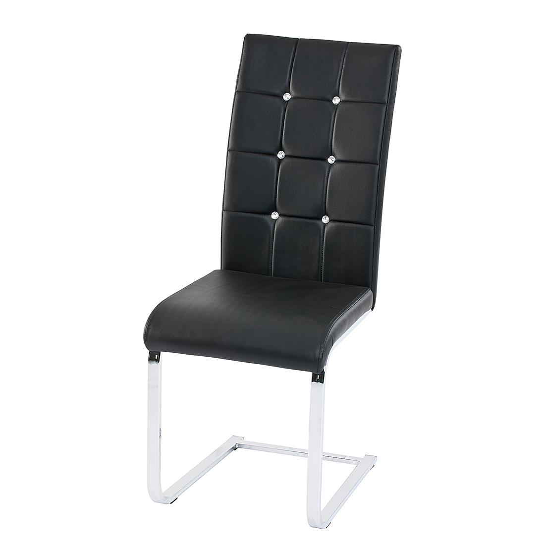 Fredriks Eetkamerstoel Carina (4-delige set) - diamanten elementen - zwart kunstleer Home24