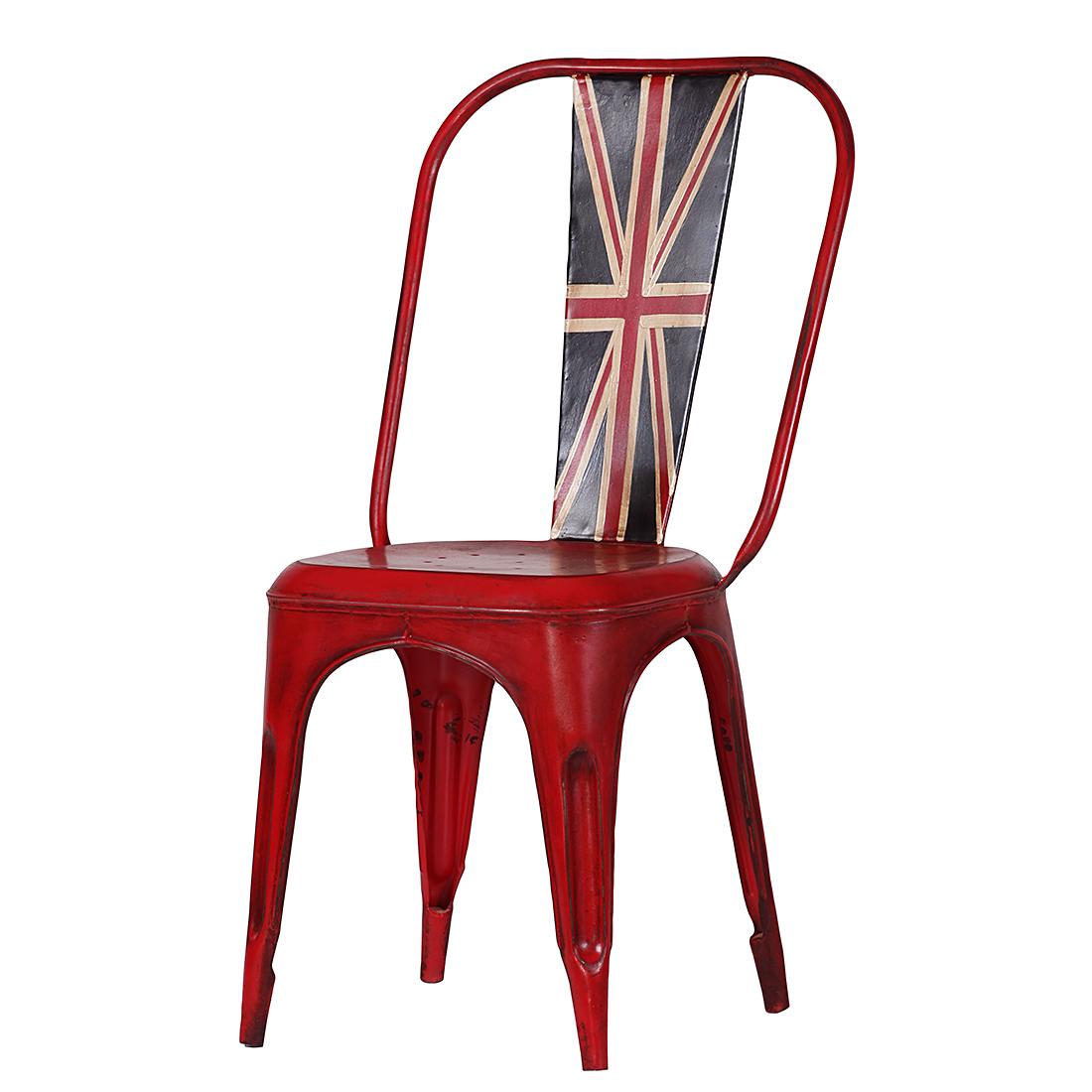 furnlab Stoel Union Jack - gelakt metaal - rood Home24