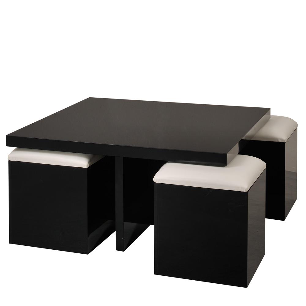 Tischgruppe Oceano (5teilig)  Schwarz Hochglanz Weiß