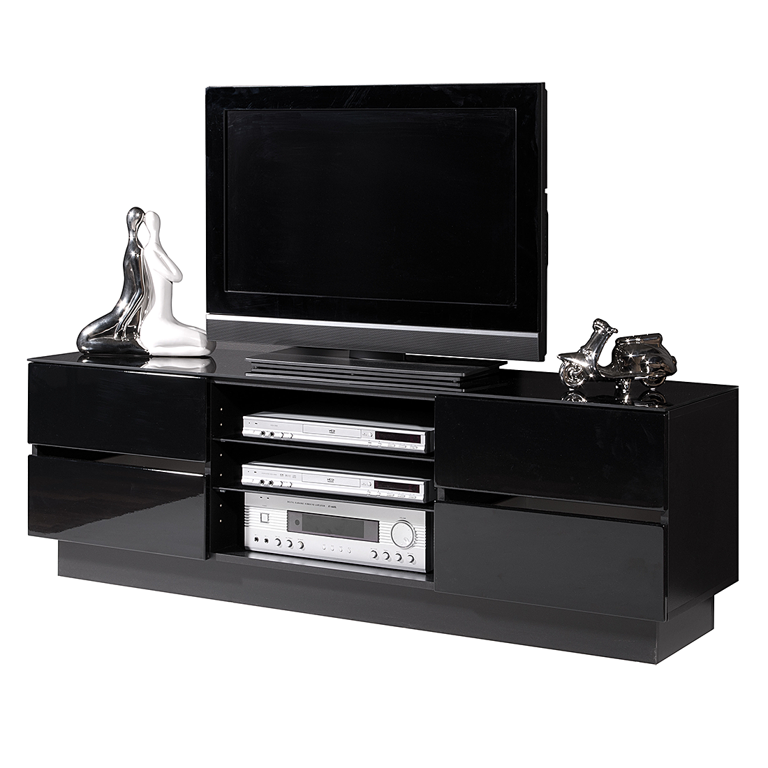 tv lowboard leander hochglanz schwarz top square m bel profi. Black Bedroom Furniture Sets. Home Design Ideas