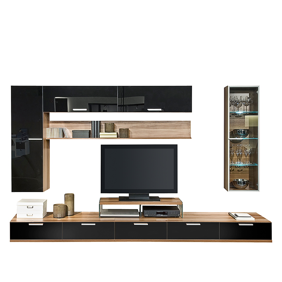 wohnwand schwarz glas hochglanz led b h t ca 280x190x45 cm korpus. Black Bedroom Furniture Sets. Home Design Ideas