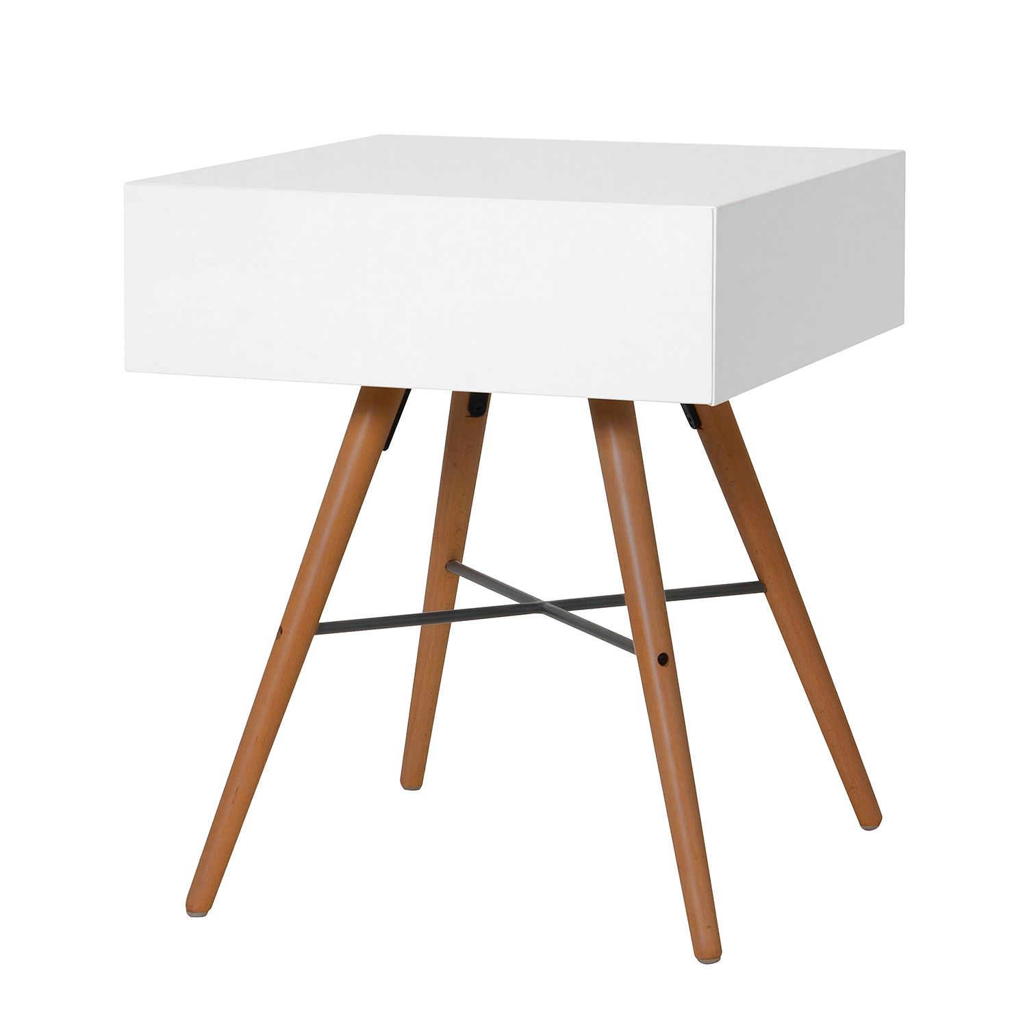 Table d'appoint Filiam - Blanc / Marron foncé,