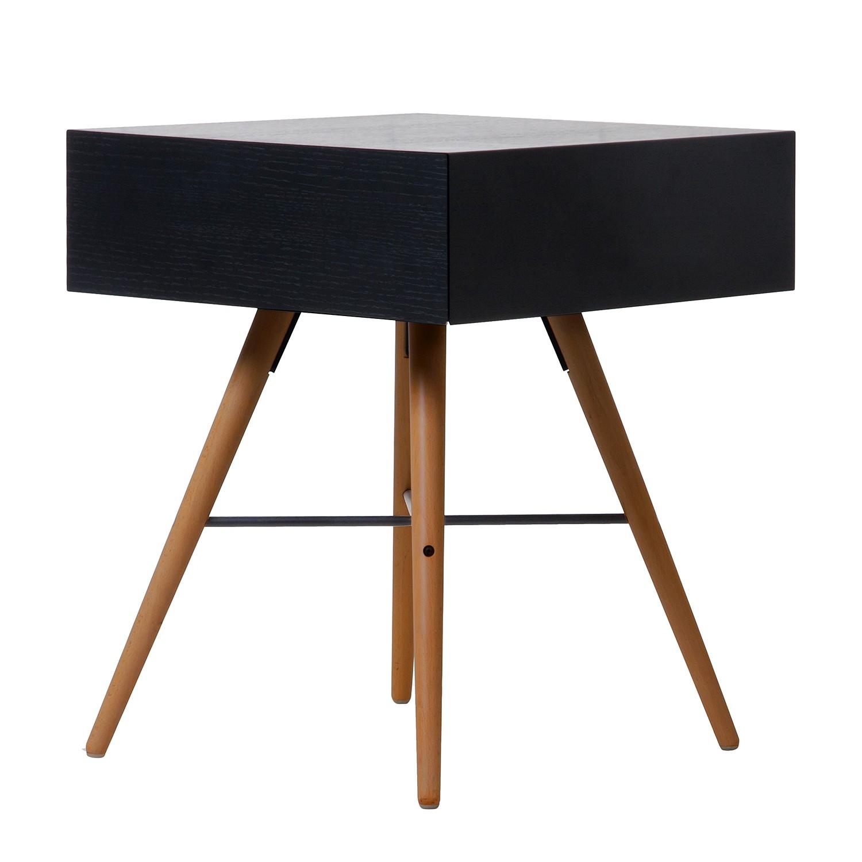 Table d'appoint Filiam - Noir / Hêtre marron foncé,