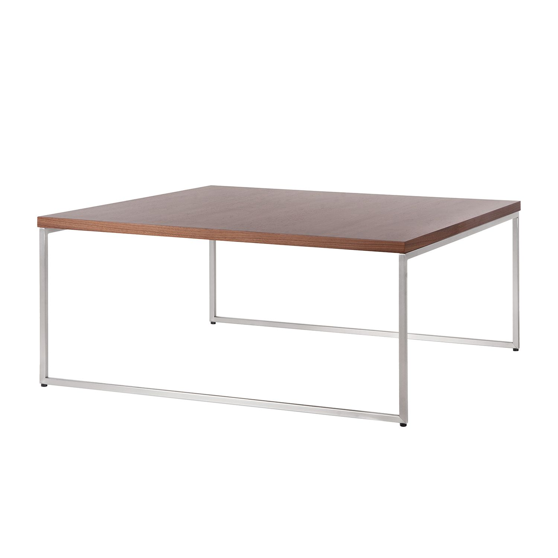 Table basse Lando I - Bois de noyer / Acier inoxydable - 91,5 x 91,5 cm,