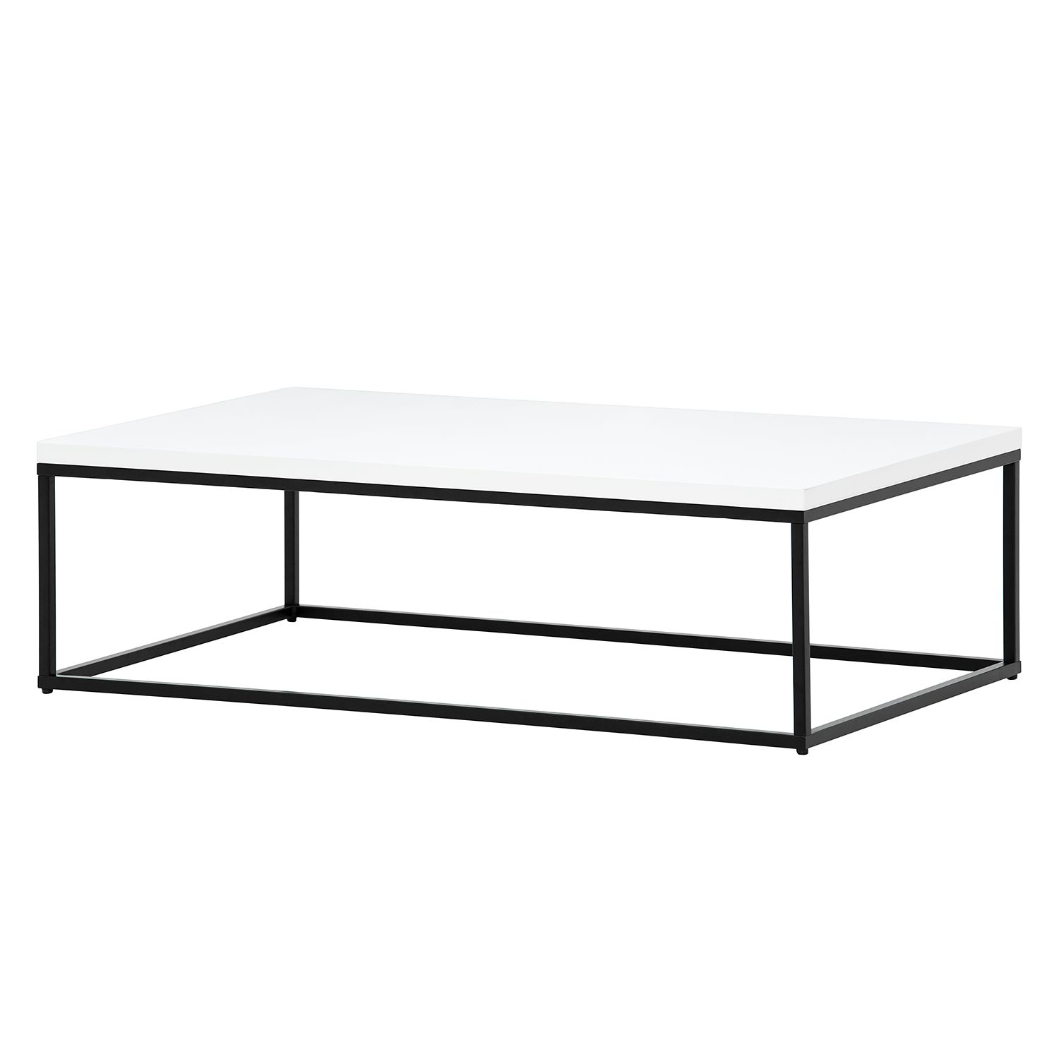 Table basse Lando II - Blanc brillant / Noir - 102,5 x 60 cm,
