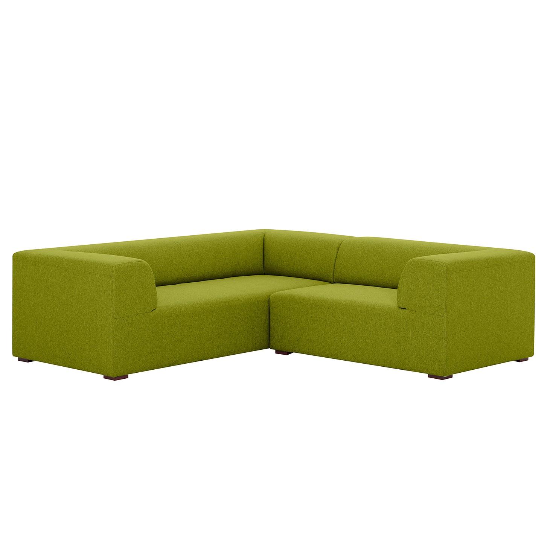 Canapé d'angle Seed II Tissu - Élément 3 places monté à gauche (vu de face) - Tissu Ramira Citron vert,