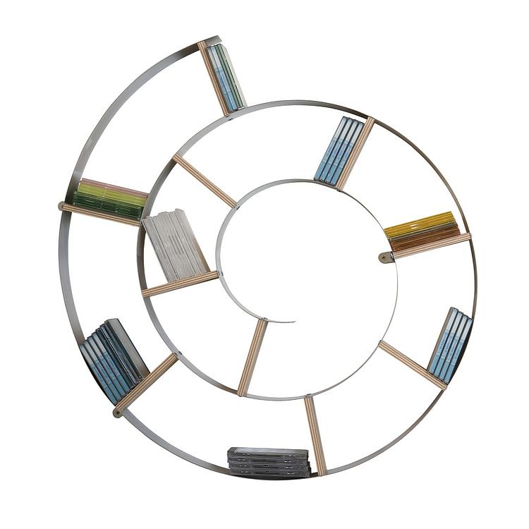 kare design wandregal stahl wei rund cd regal silber regal neu ebay. Black Bedroom Furniture Sets. Home Design Ideas