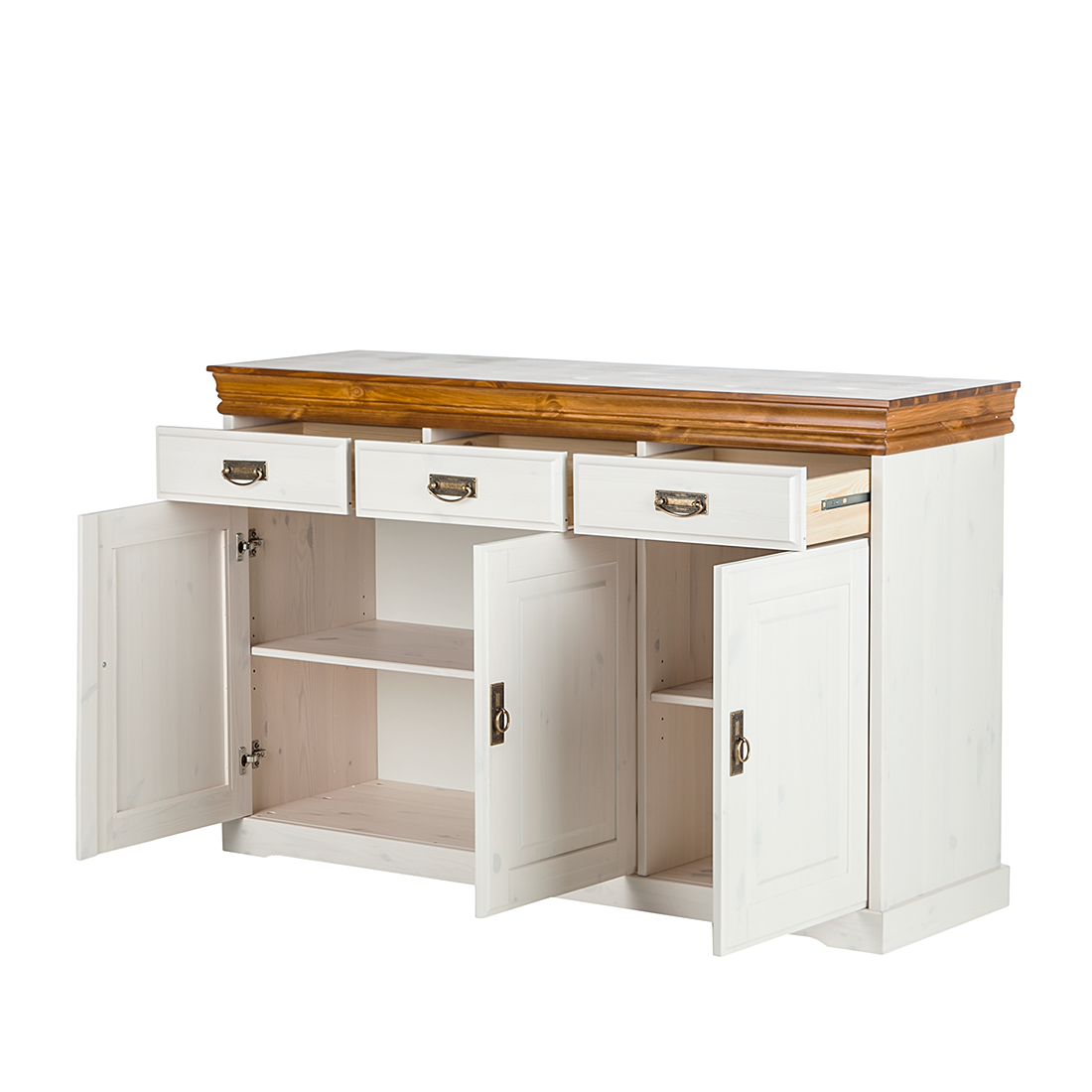 Anriche kiefer massivholz wei buffett sideboard kommode for Sideboard kiefer