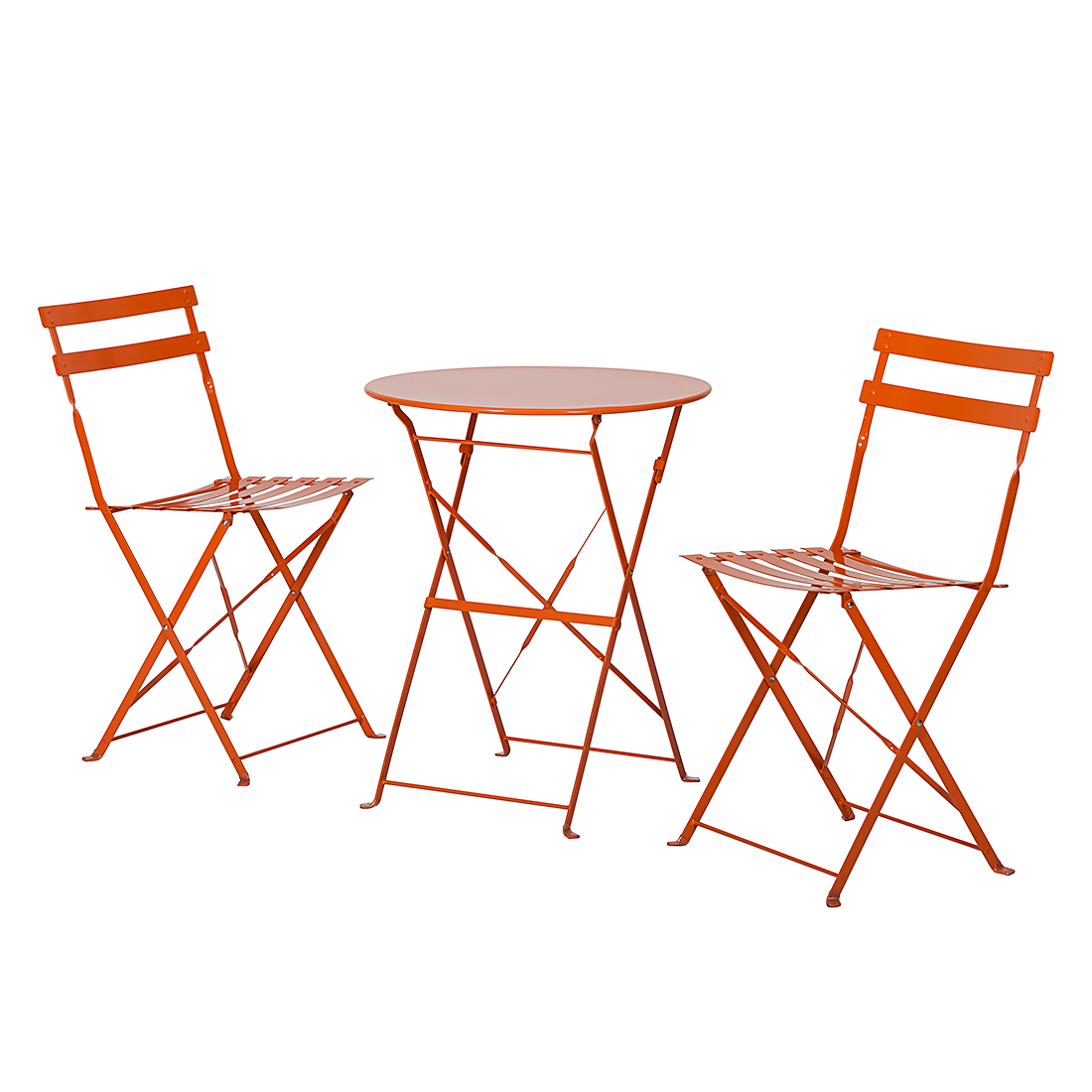 balkonset sitzgruppe loungeset garten 3 teilig tisch st hle orange metall neu ebay. Black Bedroom Furniture Sets. Home Design Ideas