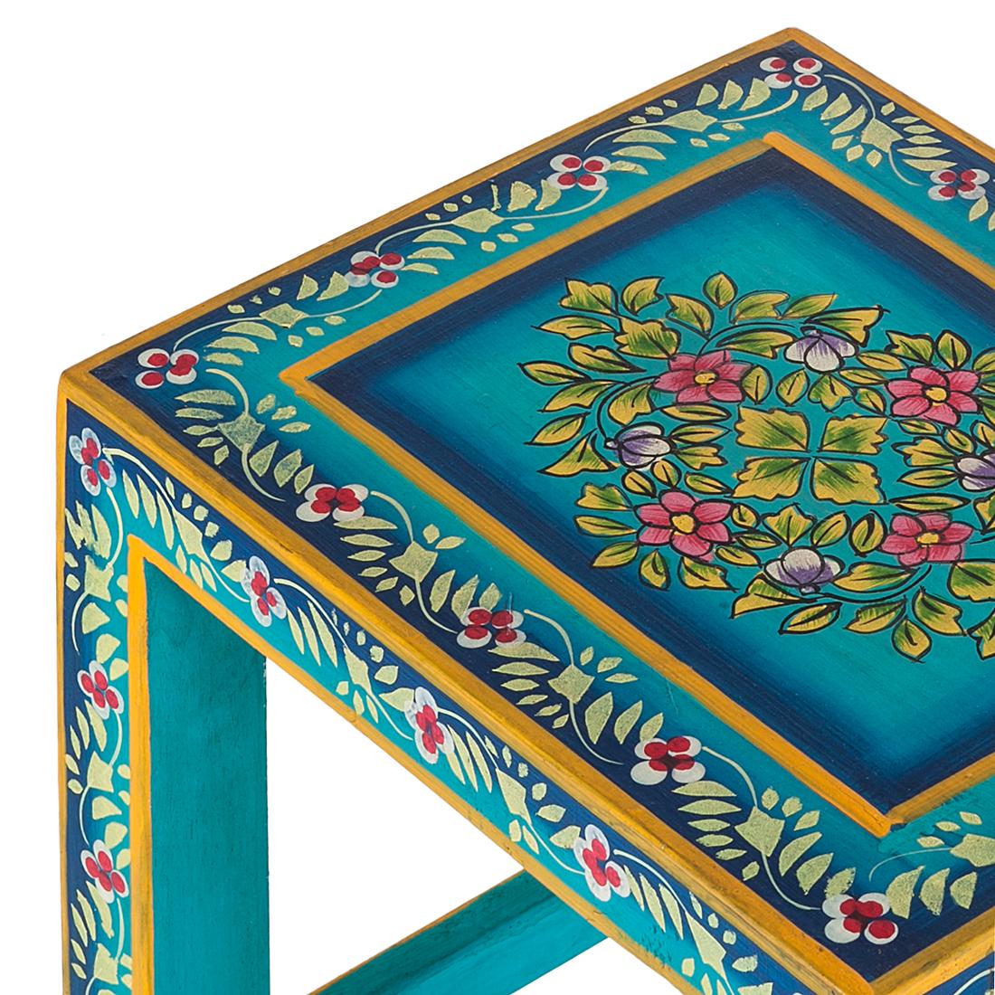 3er Set Kare Design Beistelltisch Mango Holz handbemalt