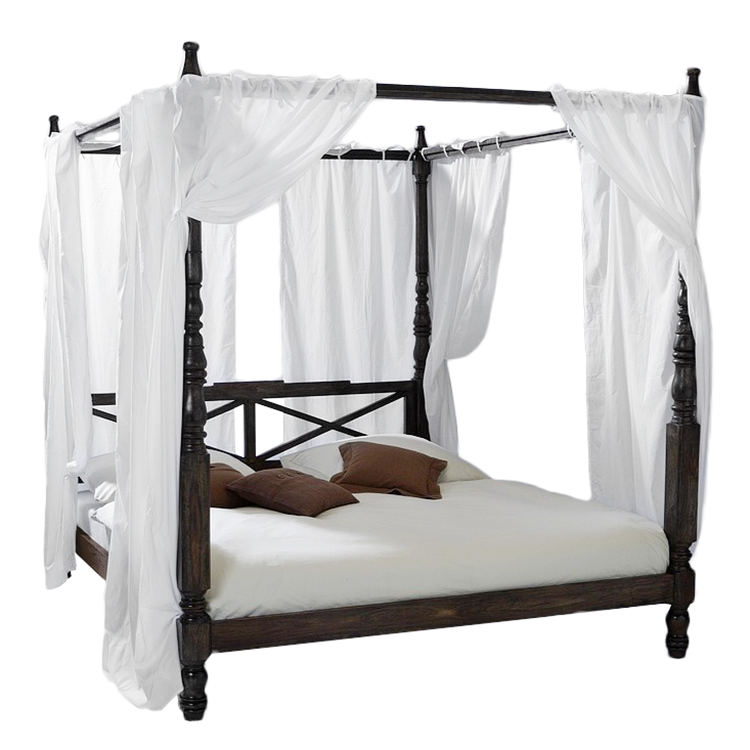 himmelbett sheesham massivholz incl 4 t cher in wei bett. Black Bedroom Furniture Sets. Home Design Ideas