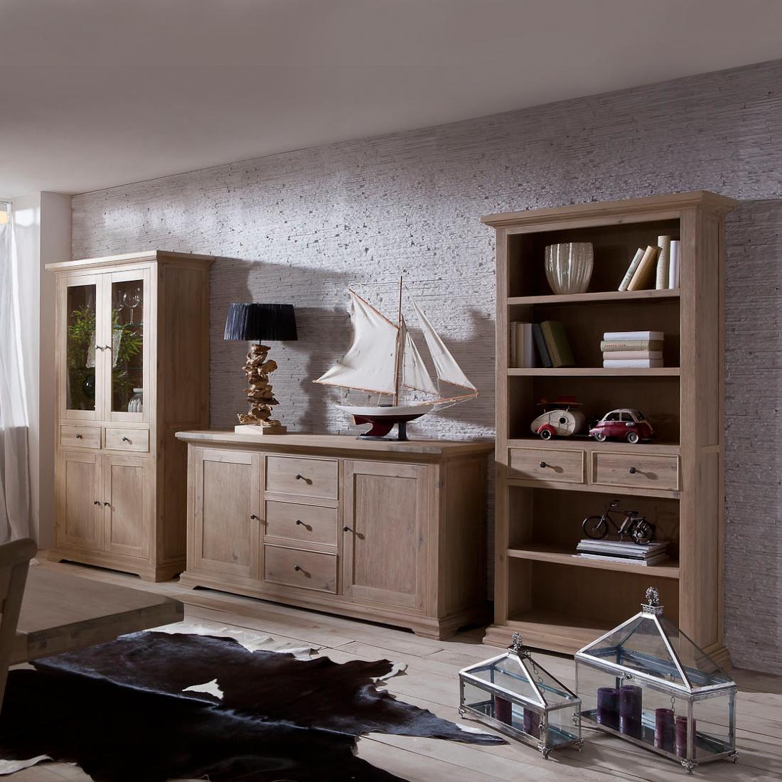 Standregal bücherregal akazie massivholz wohnzimmer bücher