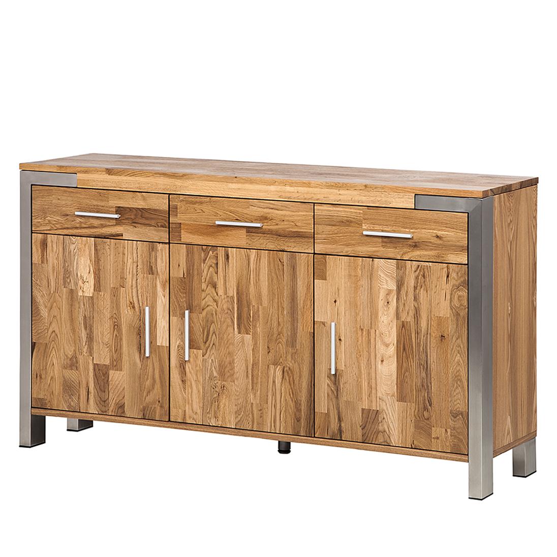 anrichte eiche massivholz edelstahl sideboard esszimmer buffet holz schrank neu ebay. Black Bedroom Furniture Sets. Home Design Ideas