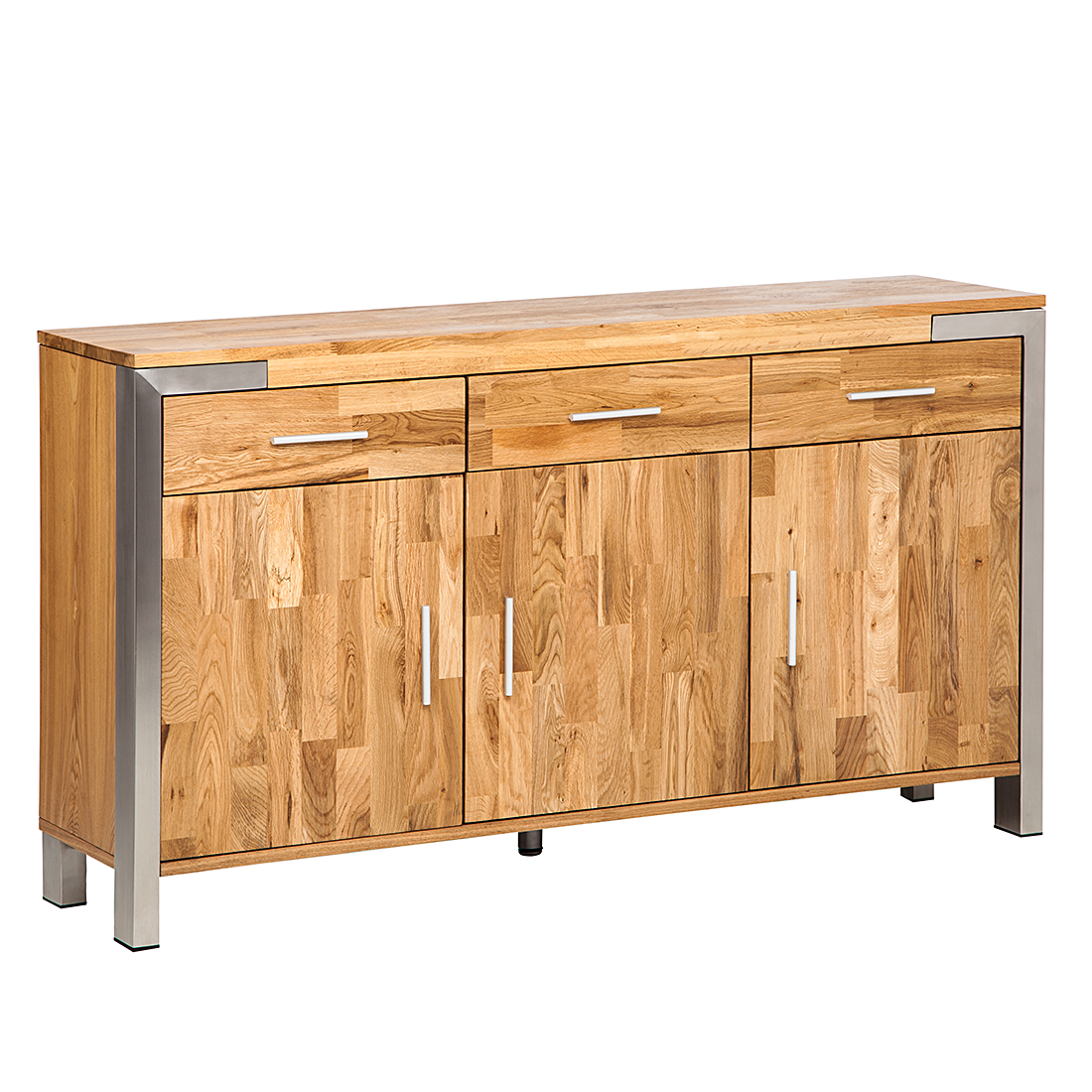 anrichte eiche massivholz edelstahl sideboard esszimmer buffet holz schrank neu ebay. Black Bedroom Furniture Sets. Home Design Ideas