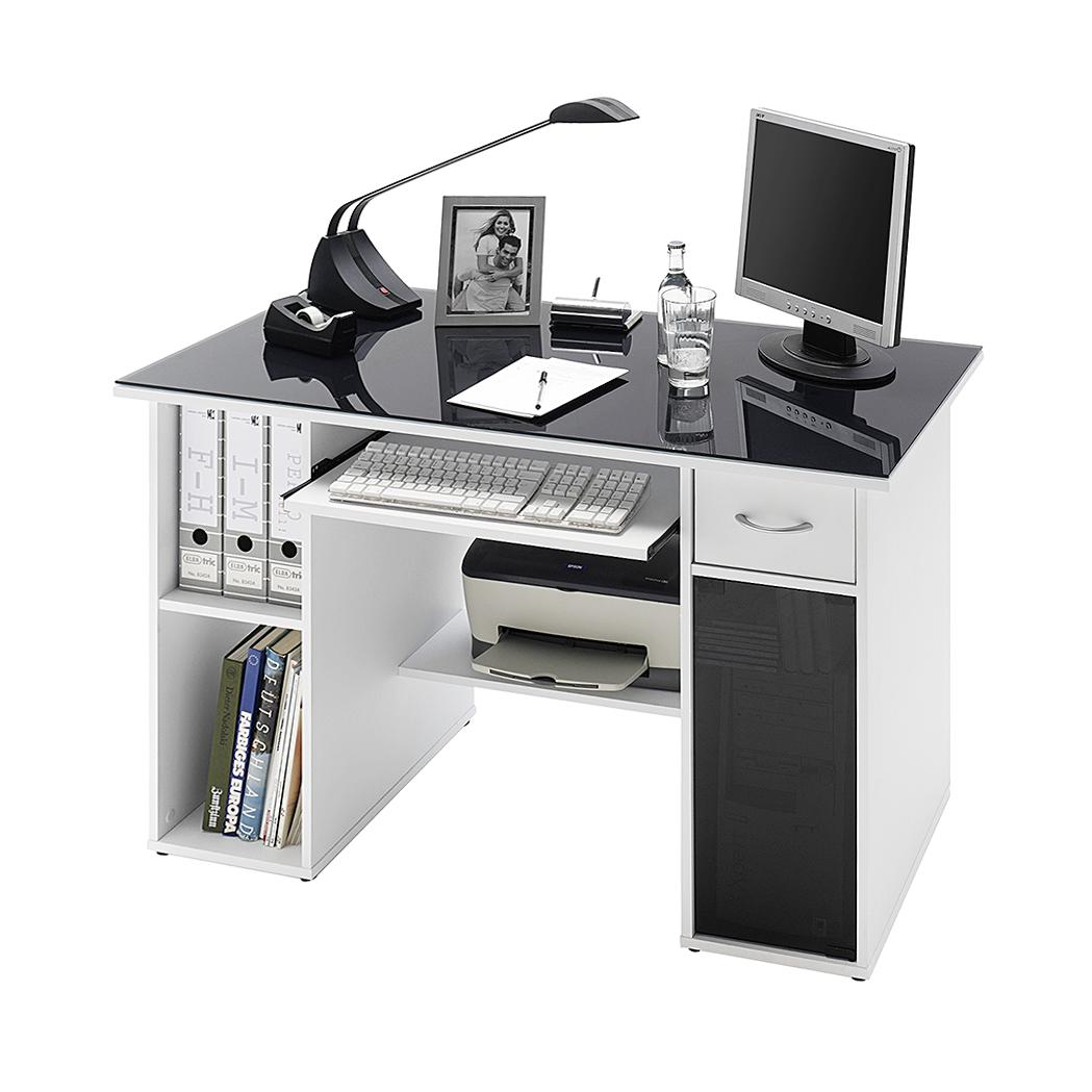 Computertisch weiß  Schreibtisch Weiß mit Glasplatte Grau Computertisch Bürotisch PC ...