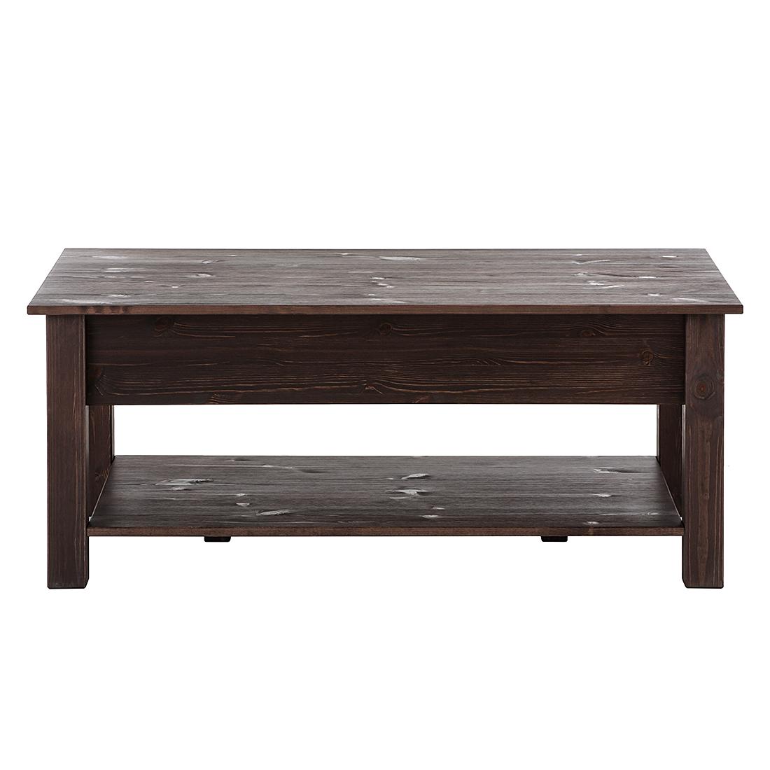 Couchtisch Dunkelbraun Mit Schublade Tische Wohnzimmer 63x110x45cm Massivholz Braun Home24