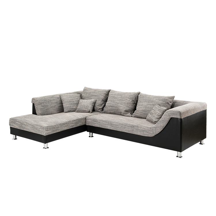 Ecksofa stoff schwarz grau ottomane links eckcouch sofa for Eckcouch links