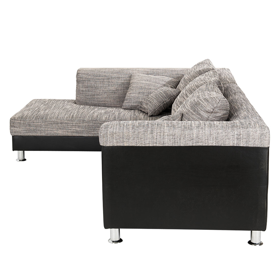 ecksofa stoff schwarz grau ottomane links eckcouch sofa couch couchgarnitur neu ebay. Black Bedroom Furniture Sets. Home Design Ideas