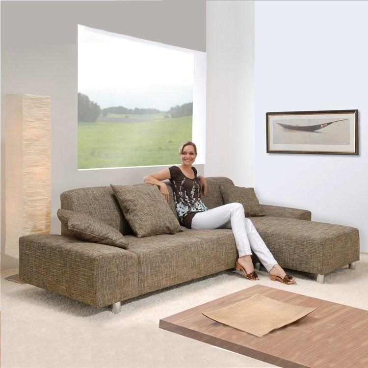 max winzer ecksofa strukturstoff beige longchair rechts. Black Bedroom Furniture Sets. Home Design Ideas