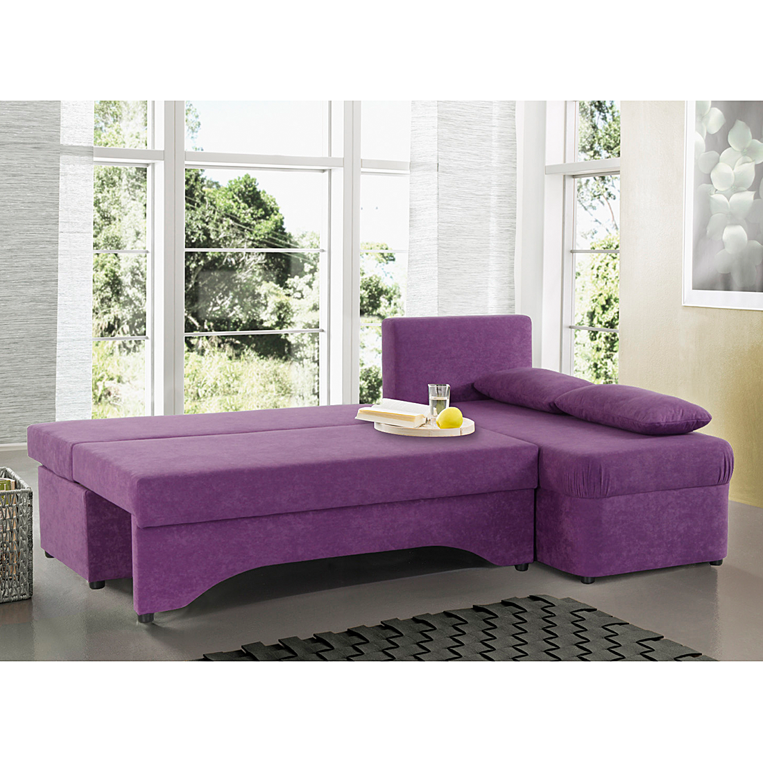 Eckcouch   schlaffunktion microfaser lila sofa couch schlafcouch ...