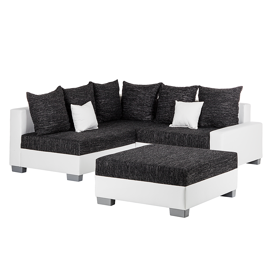 ecksofa mit hocker schwarz wei ottomane links eckcouch sofa couch neu ebay. Black Bedroom Furniture Sets. Home Design Ideas