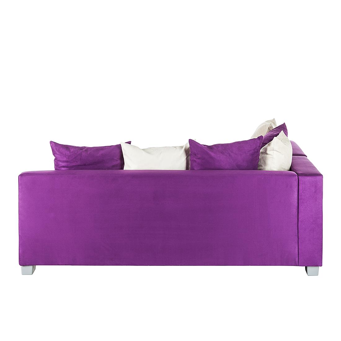 neu ecksofa mit hocker stoff lila wei recamiere rechts eckcouch sofa schlafsofa. Black Bedroom Furniture Sets. Home Design Ideas