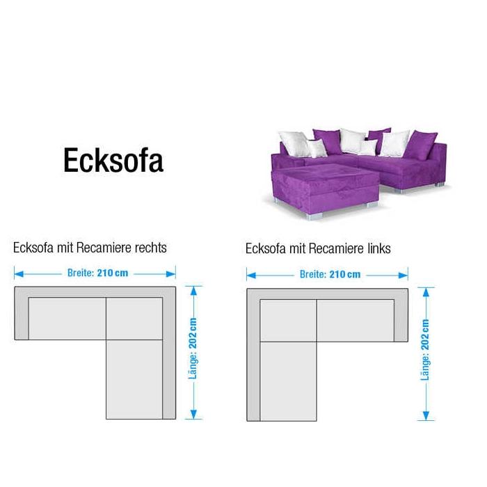 NEU Ecksofa mit Hocker Stoff Lila Weiß Recamiere rechts  -> Ecksofa Venus
