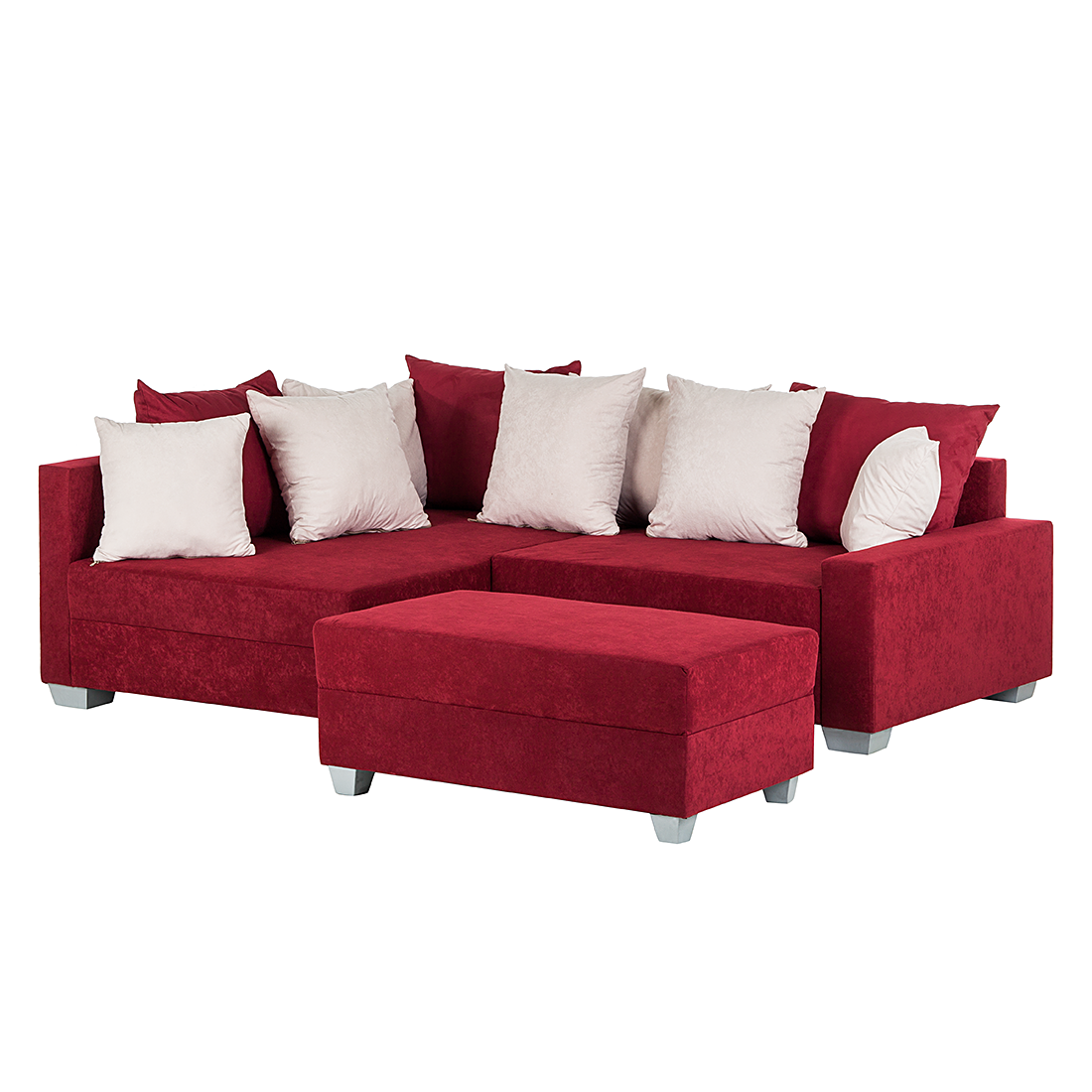 ecksofa hocker wohnlandschaft polsterecke microfaser rot beige sofa couch neu. Black Bedroom Furniture Sets. Home Design Ideas