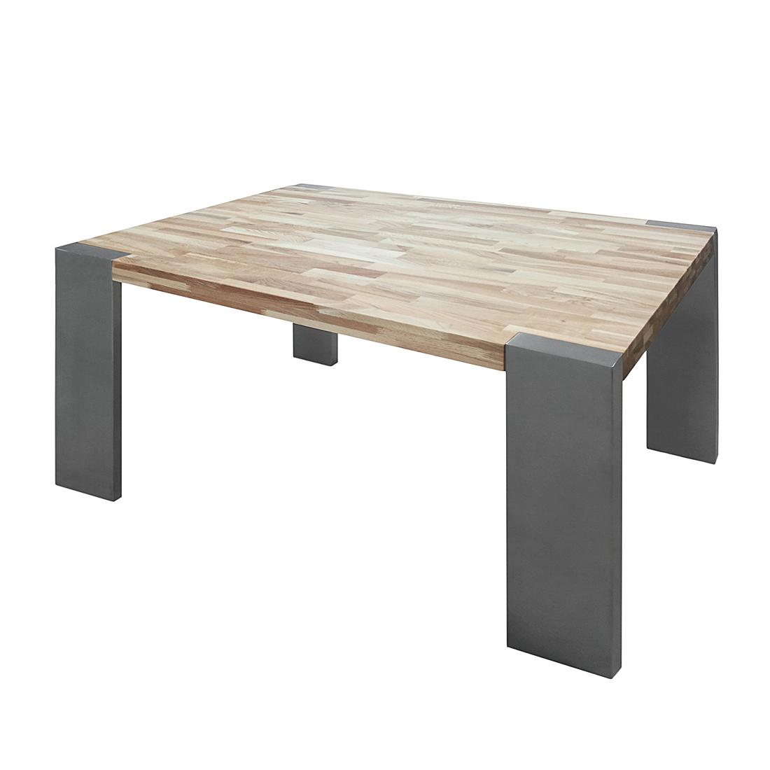 Esstisch Silber Eiche ~ Esstisch Eiche Holz Edelstahl versch Größen Küchentisch Esszimmer Tisch NEU