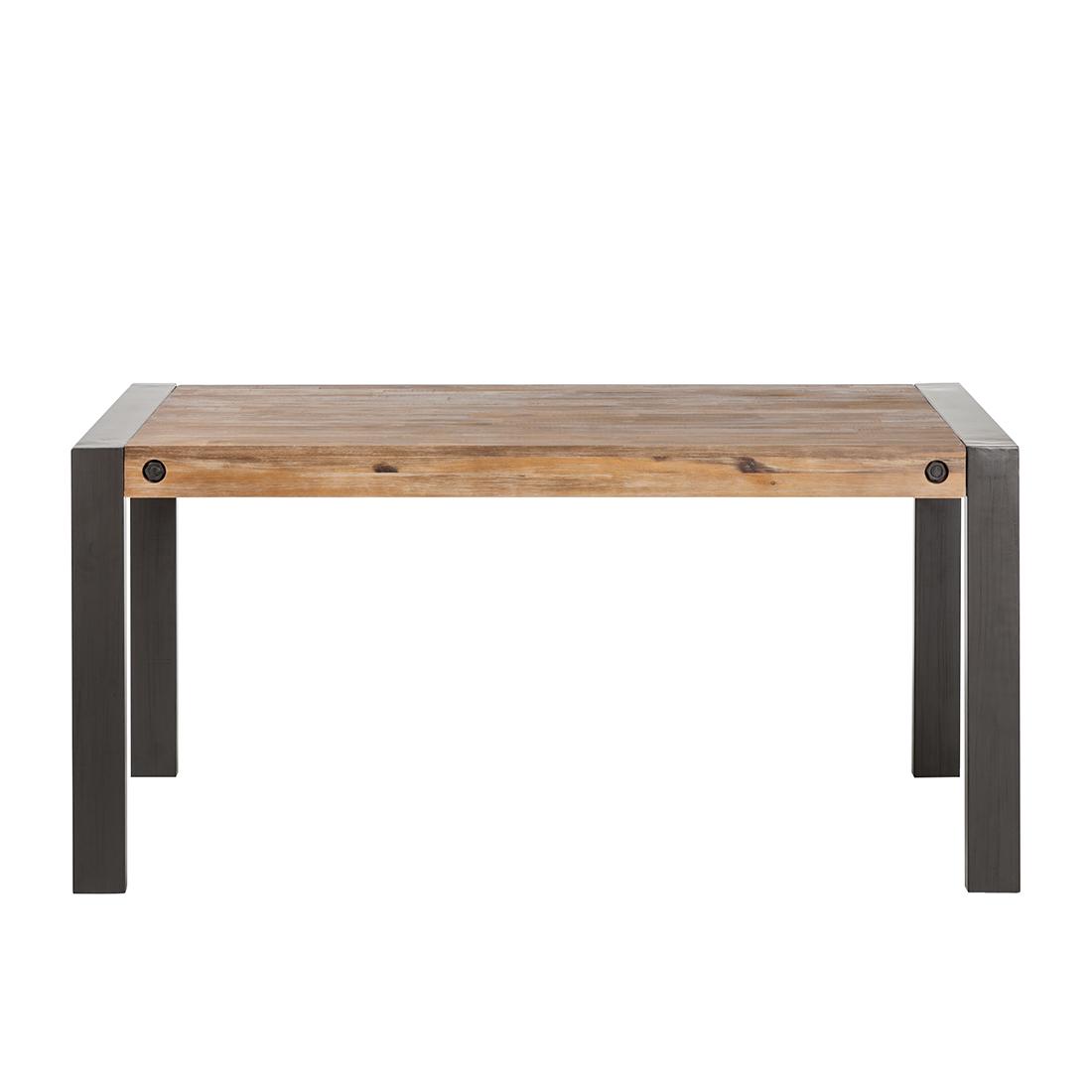 esstisch mit ausziehfunktion akazie metall esszimmertisch k chentisch neu ebay. Black Bedroom Furniture Sets. Home Design Ideas