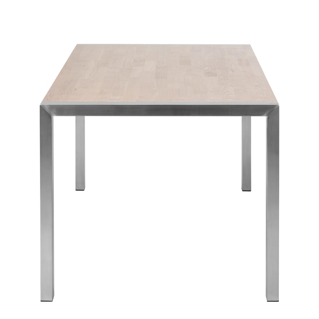 Esstisch In Massiv Recyclingholz Braun Klar ~ Esstisch Eiche massiv Edelstahl Küchentisch Esszimmertisch Küche Holz Tisch N