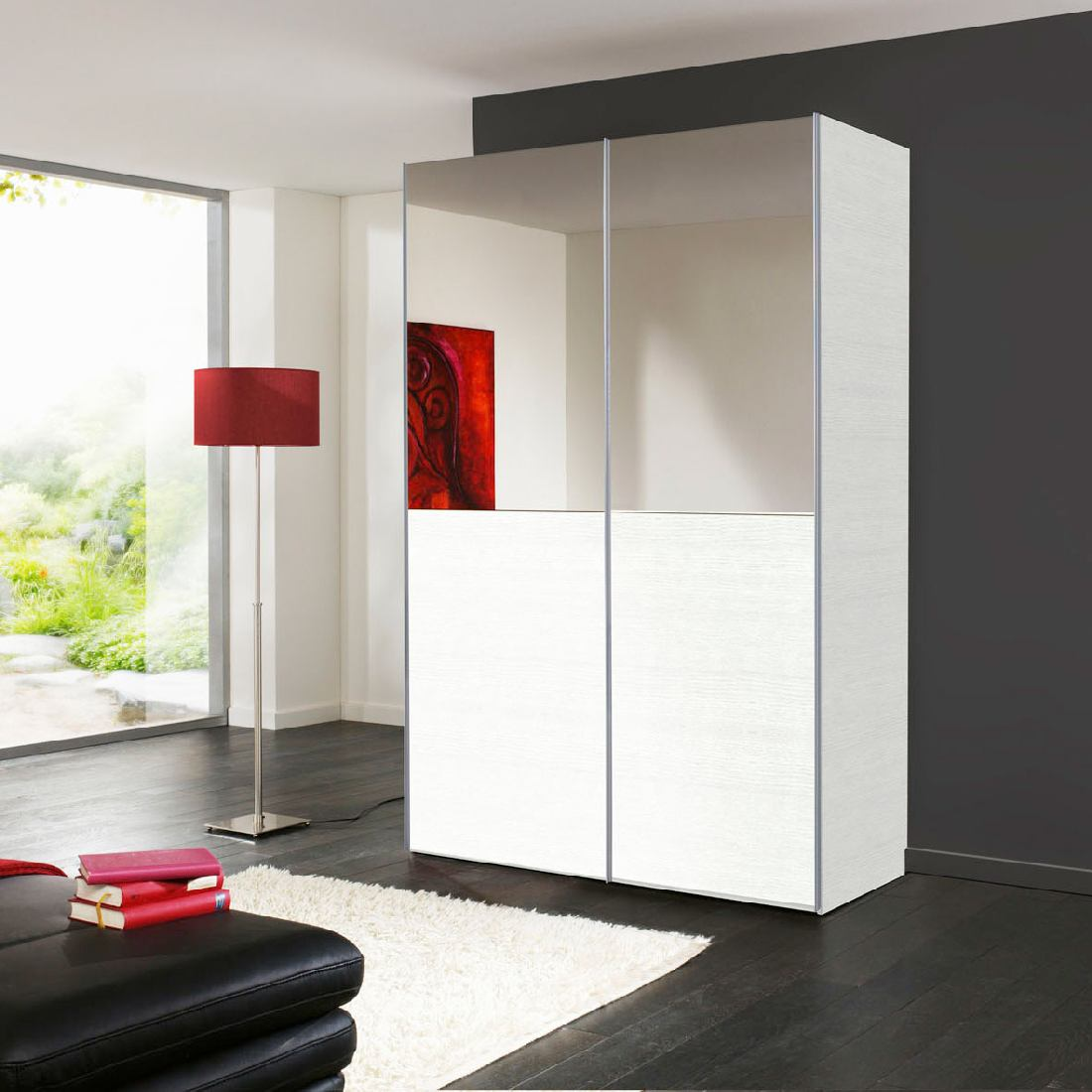 schwebet renschrank 2 t rig spiegel struktur wei kleiderschrank schrank neu ebay. Black Bedroom Furniture Sets. Home Design Ideas