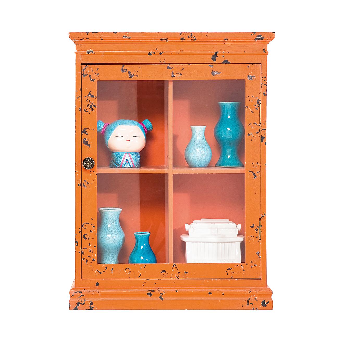 Hängeschrank Vintage Orange Vitrine Wandschrank