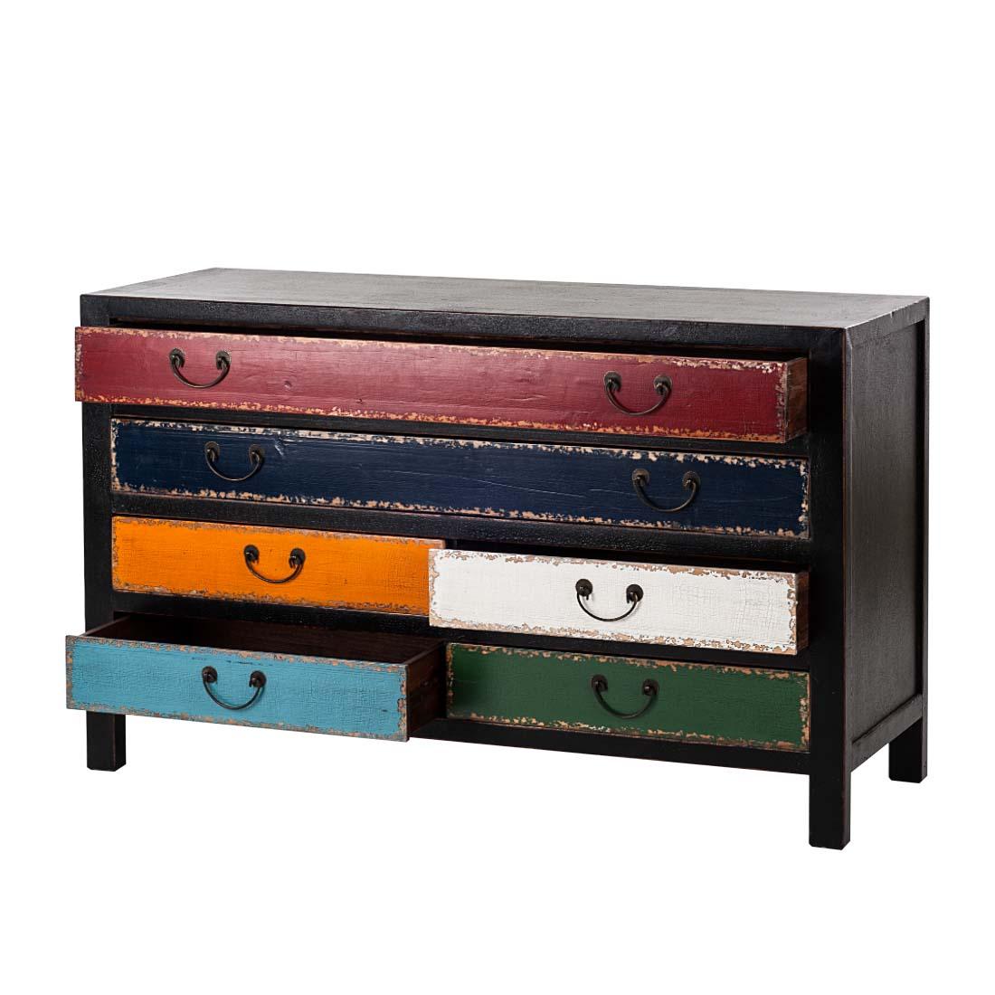 kare design kommode sideboard pappelholz schwarz bunt. Black Bedroom Furniture Sets. Home Design Ideas
