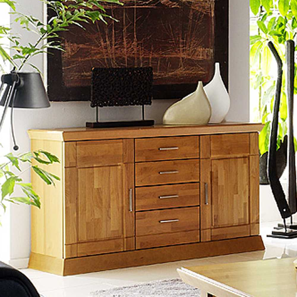 sideboard erle massivholz kommode anrichte esszimmerschrank schrank diele flur ebay. Black Bedroom Furniture Sets. Home Design Ideas