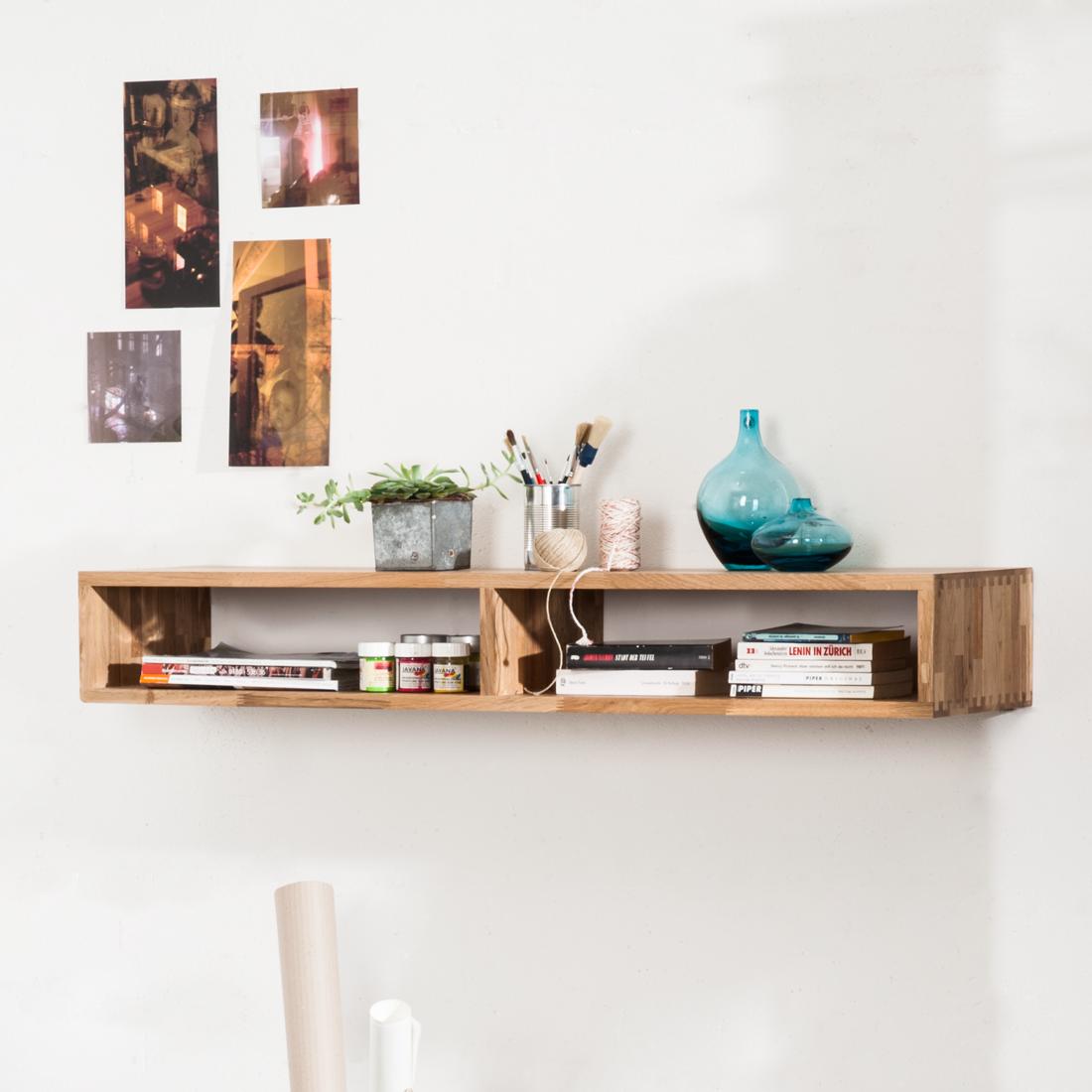wandregal eiche massivholz steckboard b cherregal wandboard h ngeregal regal neu ebay. Black Bedroom Furniture Sets. Home Design Ideas