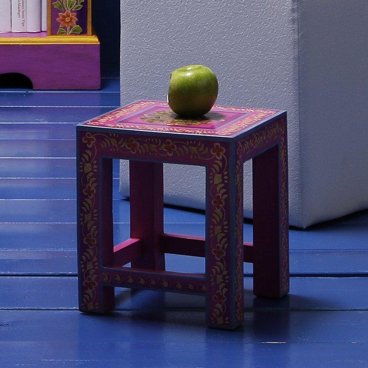 3er set kare design beistelltisch mango holz handbemalt couchtisch nachttisch. Black Bedroom Furniture Sets. Home Design Ideas