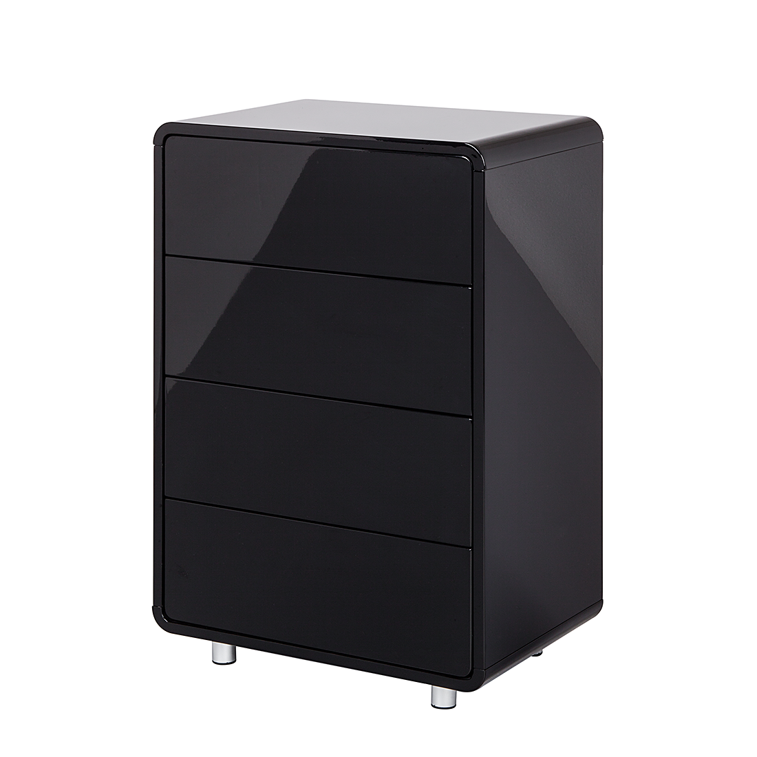 kommode 4 schubladen mdf schwarz hochglanz retro anrichte sideboard schrank neu ebay. Black Bedroom Furniture Sets. Home Design Ideas