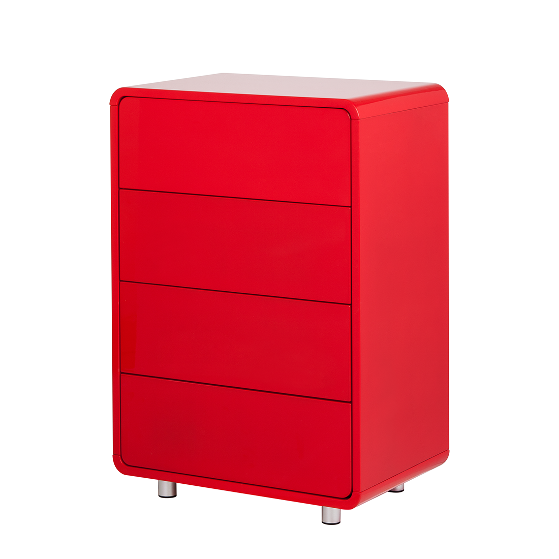 kommode 4 schubladen mdf rot hochglanz retro anrichte. Black Bedroom Furniture Sets. Home Design Ideas