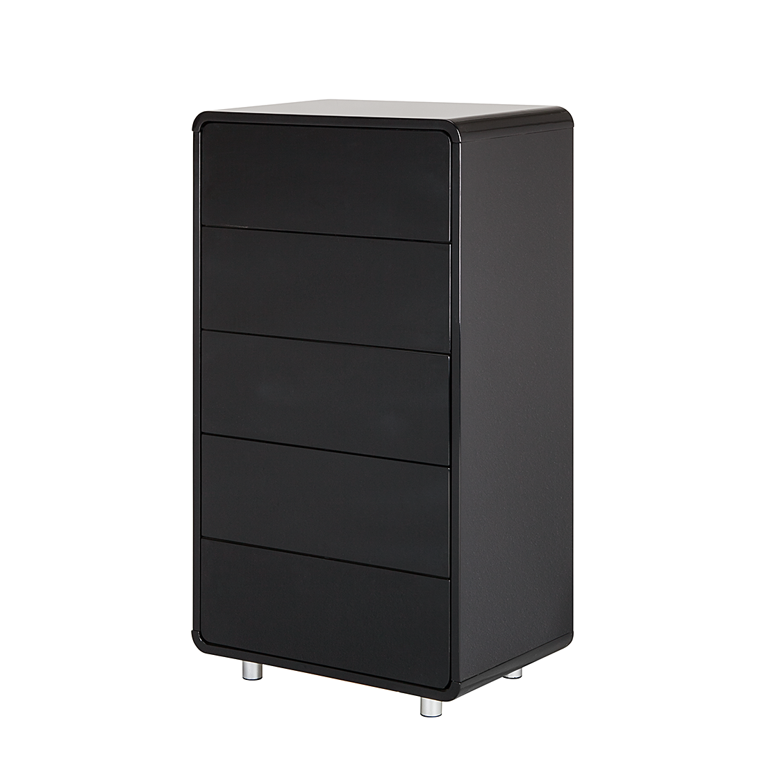 kommode 5 schubladen mdf schwarz hochglanz retro anrichte. Black Bedroom Furniture Sets. Home Design Ideas