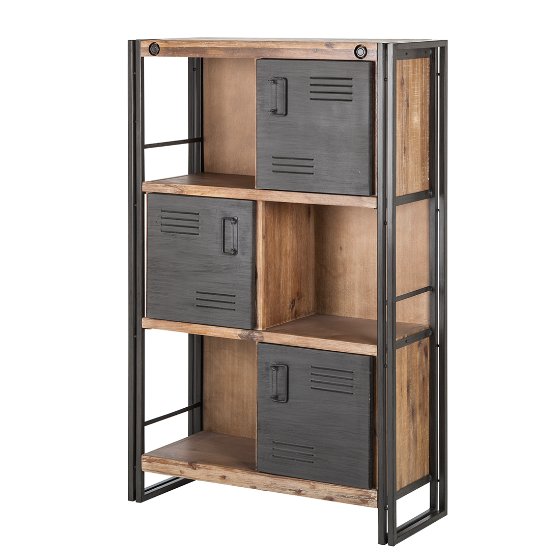 hochkommode 3 t ren akazie holz metall highboard regal. Black Bedroom Furniture Sets. Home Design Ideas