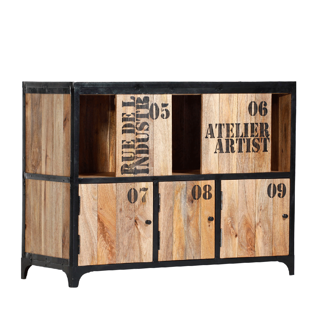 sideboard massivholz mango rahmen metall design industrial. Black Bedroom Furniture Sets. Home Design Ideas