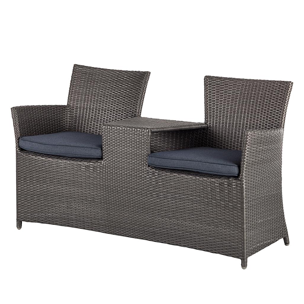 garten love chair polyrattan grau gartensessel gartenbank lovechair sessel neu ebay. Black Bedroom Furniture Sets. Home Design Ideas