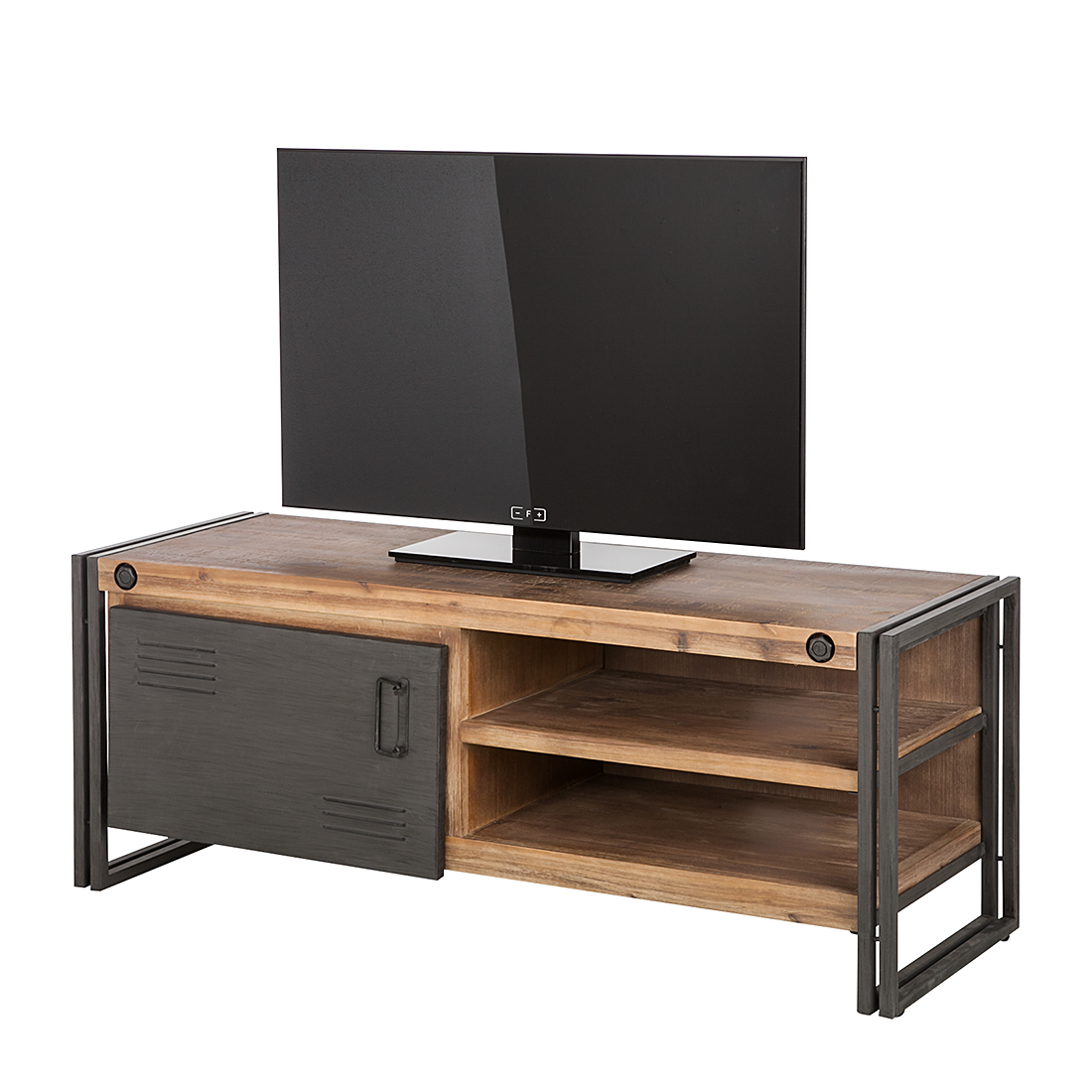lowboard industrial akazie massivholz tv unterschrank tisch fernsehtisch neu. Black Bedroom Furniture Sets. Home Design Ideas