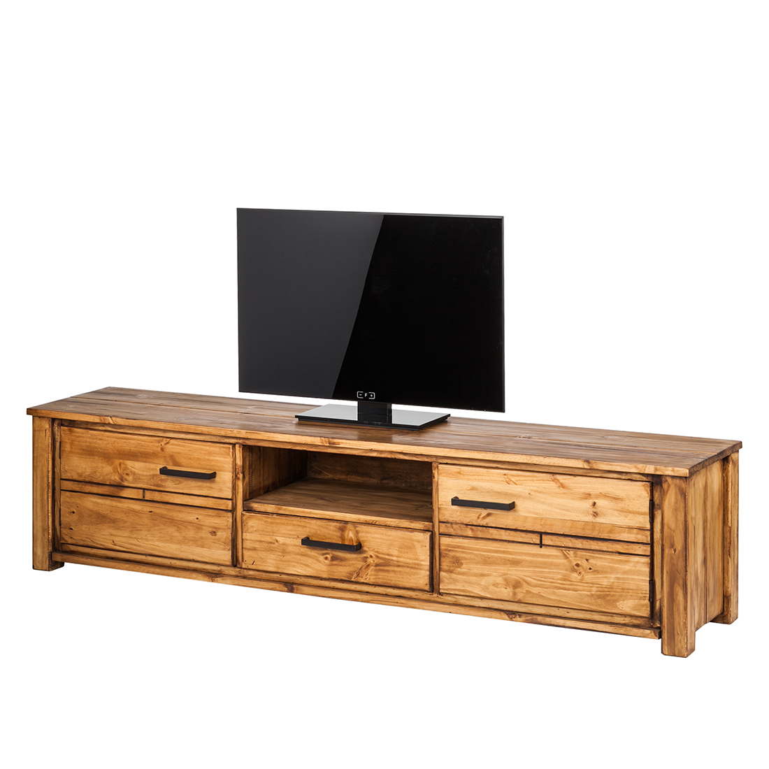 lowboard pinie massivholz 205cm fernsehtisch sideboard tv rack schrank holz neu ebay. Black Bedroom Furniture Sets. Home Design Ideas