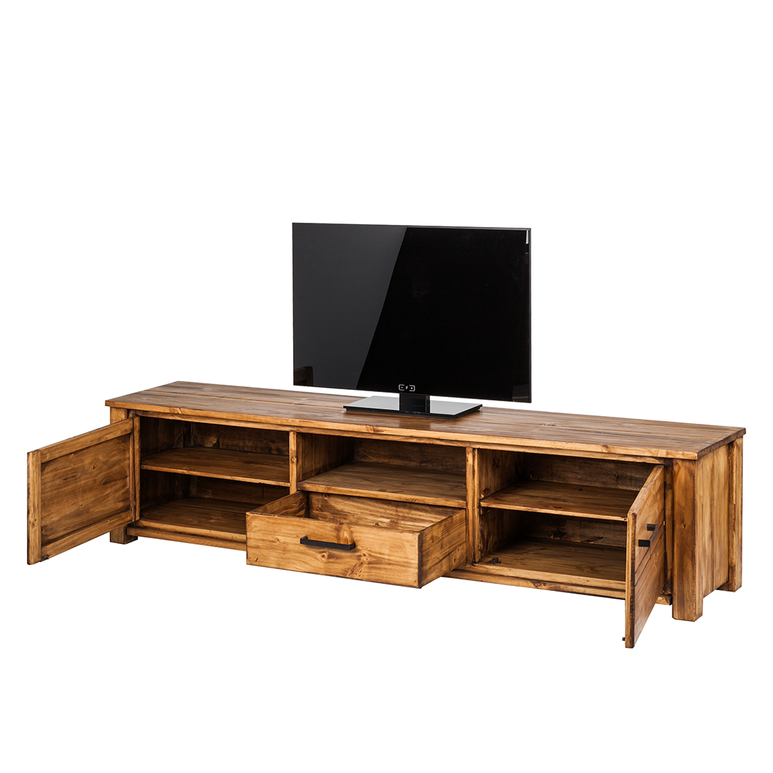 lowboard pinie massivholz fernsehtisch sideboard tv rack regal schrank holz neu ebay. Black Bedroom Furniture Sets. Home Design Ideas