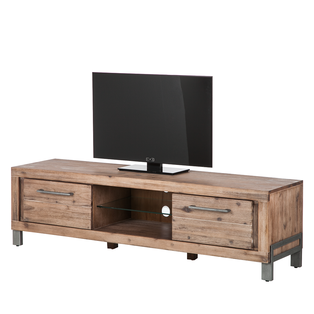 lowboard akazie massivholz grau kommode tv unterschrank schrank fernsehtisch neu ebay. Black Bedroom Furniture Sets. Home Design Ideas