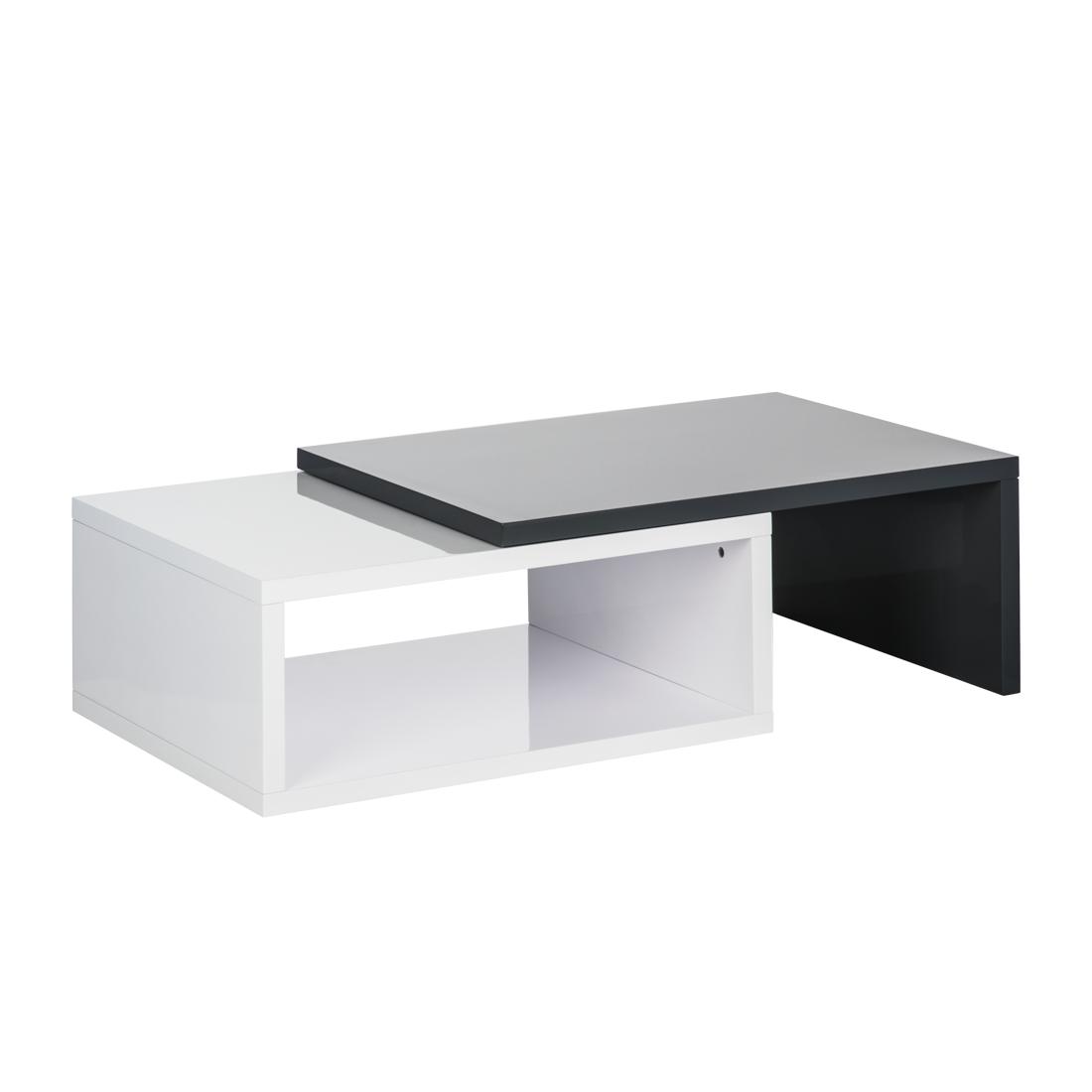 couchtisch ausziehbar wei grau hochglanz beistelltisch. Black Bedroom Furniture Sets. Home Design Ideas